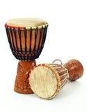 Deux tambours africains de djembe image libre de droits