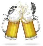 Deux tasses avec de la bière blonde Tasse avec de la bière Vecteur illustration de vecteur