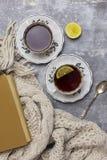 Deux tasses avec le thé noir et le citron et les soucoupes, le citron, les bâtons de cannelle, la cuillère, le livre et l'écharpe image libre de droits