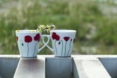 Deux tasses dans le bord Photographie stock