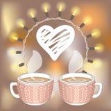 Deux tasses de cacao ou de café et coeur blanc de hachure Images libres de droits
