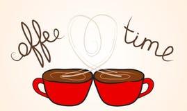 Deux tasses de café avec la vapeur en hausse une forme de coeur illustration de vecteur