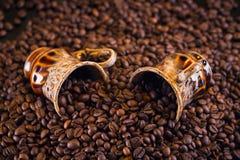 Deux tasses de café complètement de grains de café rôtis Photo libre de droits