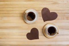 Deux tasses de café et de décor Images libres de droits