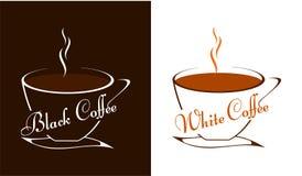 Deux tasses de café noir et blanc illustration de vecteur