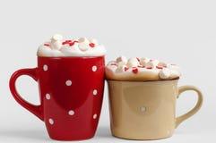 Deux tasses de cappuccino avec des coeurs de guimauve et de sucre Photographie stock libre de droits