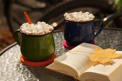 Deux tasses de chocolat chaud et de guimauves Image libre de droits