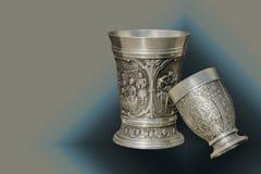 Deux tasses en métal de vintage Photos libres de droits