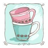 Deux tasses tirées par la main de thé dans le style peu précis décoré du cadre simple Photos stock