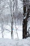 Deux tentes de pêche dans la distance en hiver sur la glace d'un étang Photos libres de droits