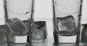 Deux tirs vides de vodka en verres avec des glaçons Fond blanc photographie stock