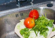 Deux tomates fraîches rouges et persil vert sont nettoyés Image libre de droits