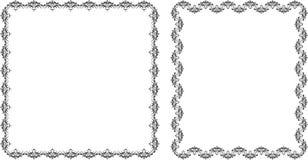 Deux trames décoratives. Noir d'isolement sur le blanc Images libres de droits