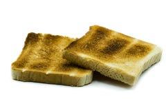 deux tranches de pain grillé d'isolement sur le fond blanc photographie stock
