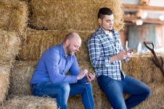 Deux travailleurs décontractés de ferme Photo stock
