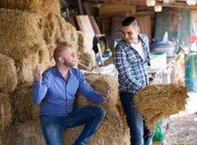 Deux travailleurs de ferme en grenier à foin Images stock