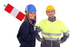 Deux travailleurs de la construction Images libres de droits