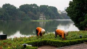 Deux travailleurs plument des mauvaises herbes devant la tour de Turtel, Vietnam Photo stock