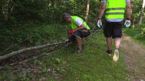 Deux travailleurs sur un arbre cassé clips vidéos