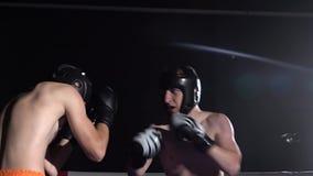 Deux types se préparant aux concours kickboxing Mouvement lent Silhouette banque de vidéos