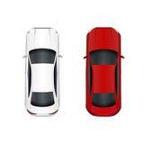 Deux véhicules Blanc et rouge D'isolement sur le fond blanc Illustration Photos libres de droits