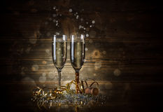 Deux verres avec le champagne Images libres de droits