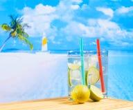 Deux verres de cocktail avec la tranche de chaux sur la plage et la paume de tache floue Image stock
