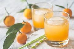 Deux verres de jus d'orange Images stock