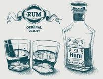 Deux verres de logotype d'alcool, de bouteille et de rhum illustration libre de droits