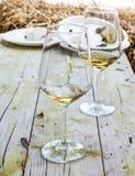Deux verres de vin blanc sur le tabel en bois Image libre de droits