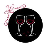 Deux verres de vin sur le fond noir Conception de logo de vin Vecteur illustration stock