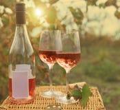 Deux verres et bouteilles du vin rosé dans le vignoble d'automne. Photographie stock libre de droits