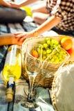 Deux verres, vin blanc et raisins, thème de pique-nique Photographie stock libre de droits