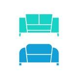 Deux verts et sofas bleus Photos libres de droits