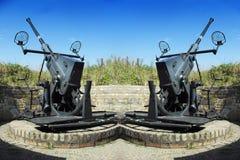 Deux vieilles armes à feu antiaériennes Photo libre de droits