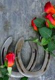 Deux vieilles chaussures de cheval appareillées avec les roses rouges en soie sur rayé vers le haut du fond en acier image libre de droits