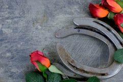 Deux vieilles chaussures de cheval appareillées avec les roses rouges en soie sur rayé vers le haut du fond en acier photo libre de droits