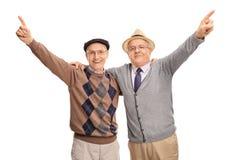 Deux vieux amis célébrant ensemble Images stock