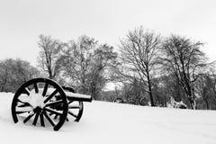 Deux vieux canons dans la neige au cimetière royal de bâti Image libre de droits