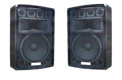 Deux vieux haut-parleurs puissants d'acoustique de concert Photographie stock