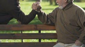 Deux vieux hommes concurrençant dans le bras de fer en parc, jeu d'amitié, bonheur de repos clips vidéos