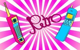 deux vieux premiers téléphones portables rétro rétro de vintage de hippie de place violette et bleue de vintage avec la longs ant Image stock