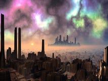 Deux villes étrangères antiques avec le ciel de l'aurore illustration stock