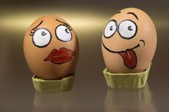 Deux visages drôles d'oeufs Photographie stock libre de droits