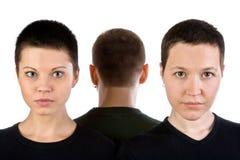 Deux visages du femme et nuque de l'homme Image libre de droits