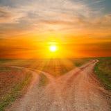 Deux voies modifiées sous des sunrays Photo libre de droits