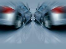 Deux voitures de sport argentées dans le mouvement illustration libre de droits