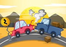 Deux voitures se cognant au milieu de la route Images stock
