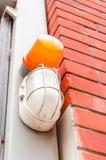 Deux voyants, oranges et blancs d'alarme Images libres de droits