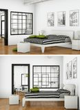 Deux vues de conception intérieure de chambre à coucher moderne Image libre de droits